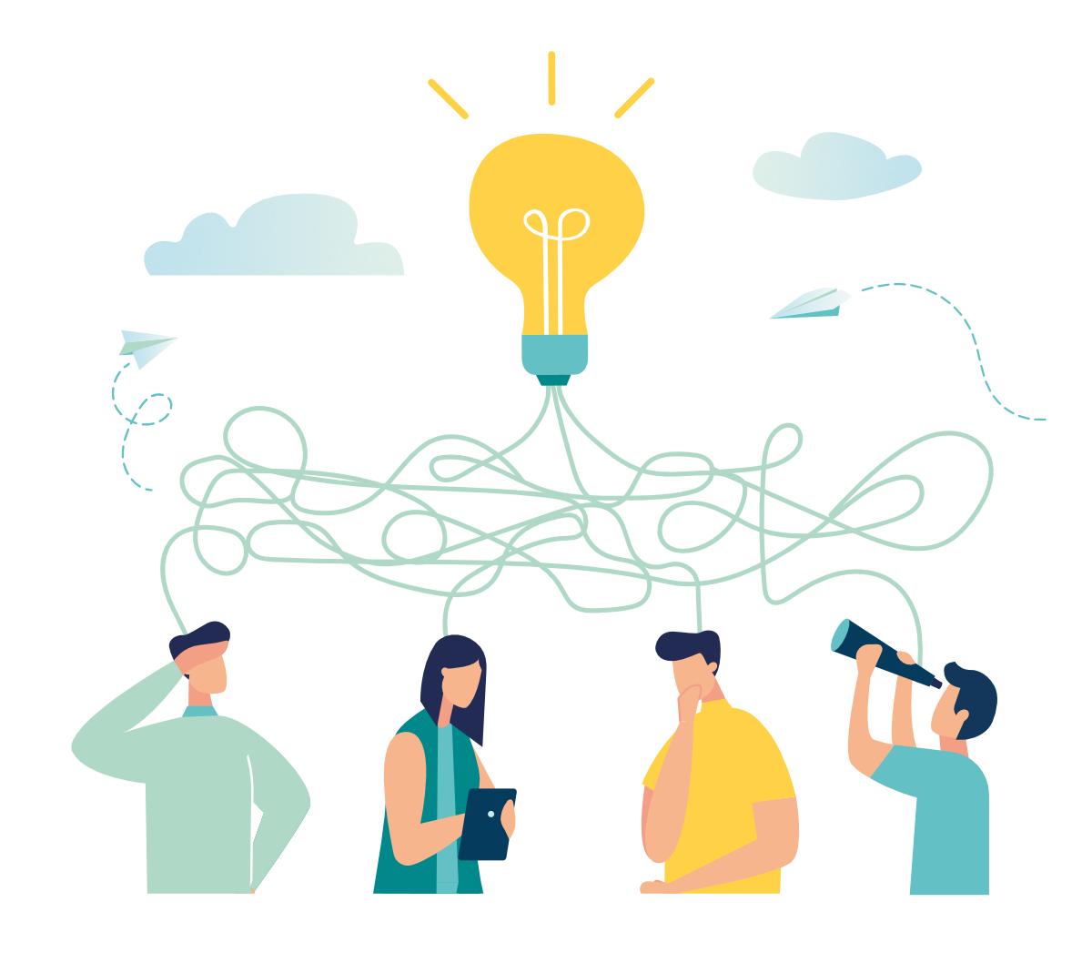 Illustration of lightbulb & work colleagues